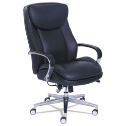La-Z-Boy Commercial 2000 High-Back Executive Chair with Dynamic Lumbar Support, Supports up to 300 lbs., Black Seat/Back, Silver Base