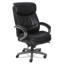 La-Z-Boy Woodbury Big and Tall Executive Chair, Supports up to 400 lbs., Black Seat/Black Back, Weathered Gray Base