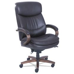 La-Z-Boy Woodbury Big and Tall Executive Chair, Supports up to 400 lbs., Brown Seat/Brown Back, Weathered Sand Base