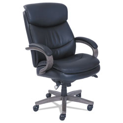 La-Z-Boy Woodbury High-Back Executive Chair, Supports up to 300 lbs., Black Seat/Black Back, Weathered Gray Base