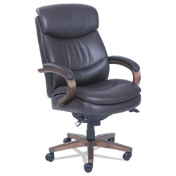 La-Z-Boy Woodbury High-Back Executive Chair, Supports up to 300 lbs., Brown Seat/Brown Back, Weathered Sand Base