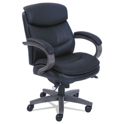La-Z-Boy Woodbury Mid-Back Executive Chair, Supports up to 300 lbs., Black Seat/Black Back, Weathered Gray Base