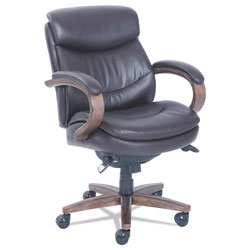 La-Z-Boy Woodbury Mid-Back Executive Chair, Supports up to 300 lbs., Brown Seat/Brown Back, Weathered Sand Base