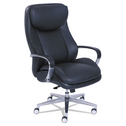 La-Z-Boy Commercial 2000 Big and Tall Executive Chair, Supports up to 400 lbs., Black Seat/Black Back, Silver Base