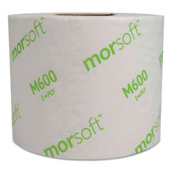 Morcon Paper Morsoft Controlled Bath Tissue, Septic Safe, 2-Ply, White, 3.9 in x 4 in, 600 Sheets/Roll, 48 Rolls/Carton