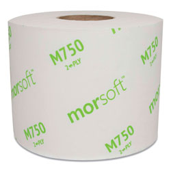 Morcon Paper Morsoft Controlled Bath Tissue, Split-Core, Septic Safe, 2-Ply, White, Individually Wrapped, 750 Sheets/Roll, 48 Rolls/Carton