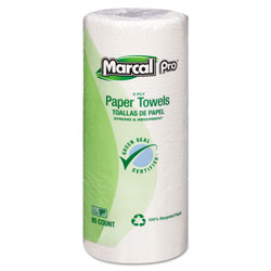 Marcal Perforated Kitchen Towels, White, 2-Ply, 9 inx11 in, 85 Sheets/Roll, 30 Rolls/Carton