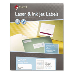 Maco Tag & Label White Laser/Inkjet Shipping and Address Labels, Inkjet/Laser Printers, 1 x 2.63, White, 30/Sheet, 100 Sheets/Box
