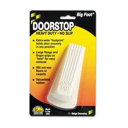 Master Caster Big Foot Doorstop, No Slip Rubber Wedge, 2 1/4w x 4 3/4d x 1 1/4h, Beige