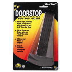 Master Caster Giant Foot Doorstop, No-Slip Rubber Wedge, 3.5w x 6.75d x 2h, Brown