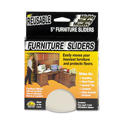 Master Caster Mighty Mighty Movers Reusable Furniture Sliders, Round, 5 in Dia., Beige, 4/Pack