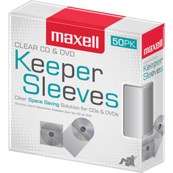 Maxell Disc Sleeve, Space-Saving, 1-1/2 inWx5-1/4 inLx6-1/2 inH, 50/PK, Clear
