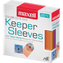 Maxell Disc Sleeve, Space-Saving, 1 inWx5-1/4 inLx6-1/2 inH, 25/PK, Assorted
