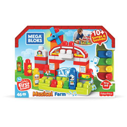 Mega Bloks Musical Farm, First Builders, 4-1/2 inWx16 inLx11-1/2 inH