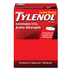 Tylenol® Extra Strength Caplets, Two-Pack, 50 Packs/Box