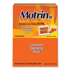 Motrin Ibuprofen Tablets, Two-Pack, 50 Packs/Box