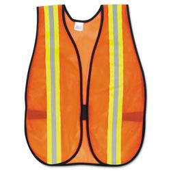 MCR Safety Orange Safety Vest, 2 in. Reflective Strips, Polyester, Side Straps, One Size