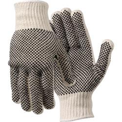 MCR Safety Work Gloves, PVC Dots On Both Sides, Large, White