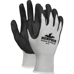 MCR Safety Safety Knit Glove, Nitrile Coated, Large, Gray