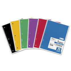 Mead Spiral Notebook, 1 Subject, Wide/Legal Rule, Assorted Color Covers, 10.5 x 7.5, 70 Sheets