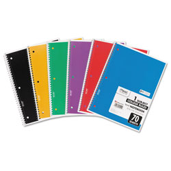 Mead Spiral Notebook, 1 Subject, Medium/College Rule, Assorted Color Covers, 10.5 x 7.5, 70 Sheets