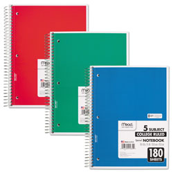 Mead Spiral Notebook, 5 Subjects, Medium/College Rule, Assorted Color Covers, 10.5 x 8, 180 Sheets