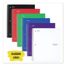 Mead Wirebound Notebook, 5 Subjects, College Rule, Assorted Color Covers, 11 x 8.5, 200 Sheets