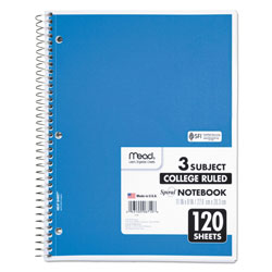 Mead Spiral Notebook, 3 Subjects, Medium/College Rule, Assorted Color Covers, 11 x 8, 120 Sheets