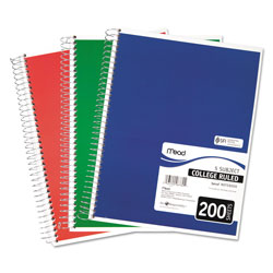 Mead Spiral Notebook, 5 Subjects, Medium/College Rule, Assorted Color Covers, 11 x 8, 200 Sheets
