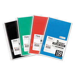 Mead Spiral Notebook, 3 Subjects, Medium/College Rule, Assorted Color Covers, 9.5 x 5.5, 150 Sheets
