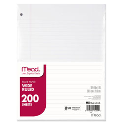 Mead Filler Paper, 3-Hole, 8 x 10.5, Wide/Legal Rule, 200/Pack