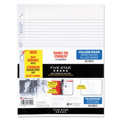 Mead Reinforced Filler Paper, 3-Hole, 8.5 x 11, College Rule, 100/Pack