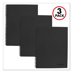 Mead Wirebound Notebook Plus Pack, Wide/Legal Rule, Black, 9.5 x 7.25, 80 Sheets, 3/Pack