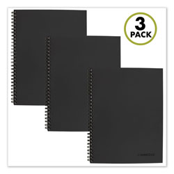 Cambridge Wirebound Action Planner Notebook Plus Pack, Black, 9.5 x 7.25, 80 Sheets, 3/Pack