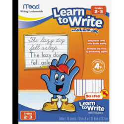 """Mead Writing Tablet, Raised Ruling, Dotted Lines, 8""""x10"""", White"""