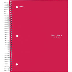 Mead 5-Subject Notebook, 8 in x 10-1/2 in, Wide-Rld, Red