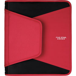 Mead Binder, 3 Round Rings, w/File Pockets, 1-1/2 in Cap, Letter, Red