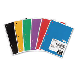 Mead Spiral Notebook, 1 Subject, Medium/College Rule, Assorted Color Covers, 10.5 x 8, 70 Sheets, 6/Pack