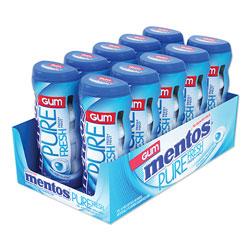 Mentos Pure Fresh Sugar-Free Gum, Mint, 15 Pieces/Pack, 10 Packs/Box