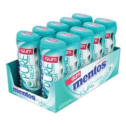Mentos Pure Fresh Sugar-Free Gum, Wintergreen, 15 Pieces/Pack, 10 Packs/Box
