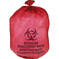 Unimed-Midwest Biohazard Waste Bag, 20-25 Gallon, 31 in x 41 in, 50/BX, Red