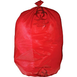 Unimed-Midwest Biohazard Waste Bag, 30-33 Gallon, 31 in x 43 in, 50/BX, Red