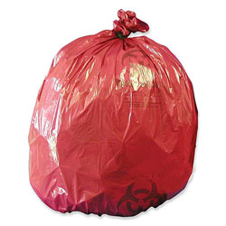 Unimed-Midwest Biohazard Can Liners, 10 Gallon, 1.2 mil, 24 in x 24 in, 50/BX, Red