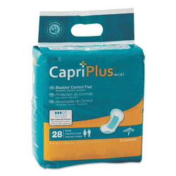 Medline Capri Plus Bladder Control Pads, Extra Plus, 6.5 in x 13.5 in, 28/Pack