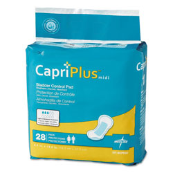 Medline Capri Plus Bladder Control Pads, Extra Plus, 6.5 in x 13.5 in, 28/Pack, 6/Carton