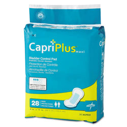 Medline Capri Plus Bladder Control Pads, Ultra Plus, 8 in x 17 in, 28/Pack