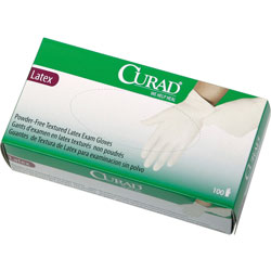 Curad Latex Exam Gloves, Powder-Free, Large, 100/Box