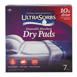 Medline Ultrasorbs Disposable Dry Pads, 23 in x 35 in, Blue, 7/Box