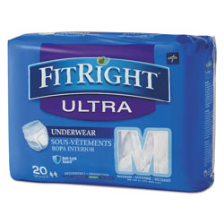 Medline FitRight Ultra Protective Underwear, Medium, 28 in to 40 in Waist, 20/Pack