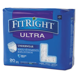Medline FitRight Ultra Protective Underwear, Large, 40 in to 56 in Waist, 20/Pack